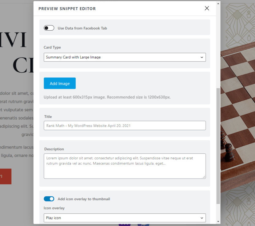 Preview Snippet Social Tab