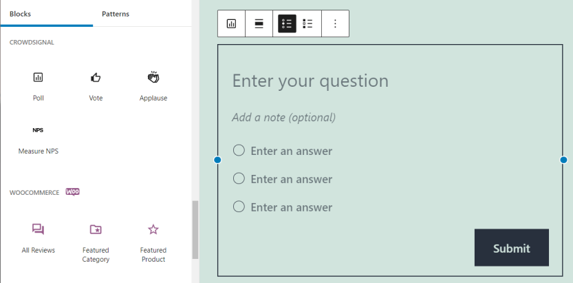 Adding a poll question using the Crowdsignal plugin.