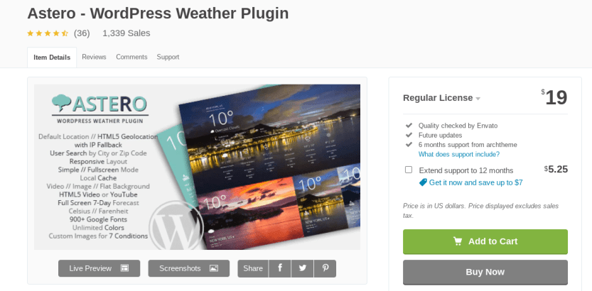 The Astero WordPress weather widget.