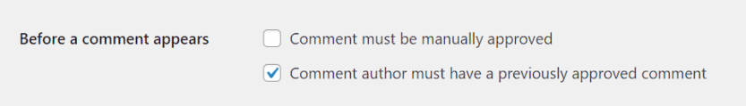 The before comment appears settings in WordPress.