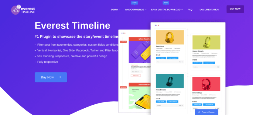 The Everest Timeline plugin for WordPress.