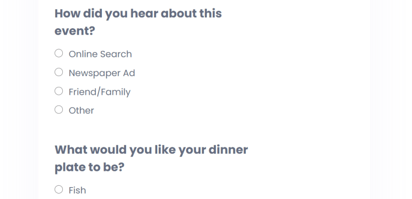 An example of a survey built with Quiz and Survey Master
