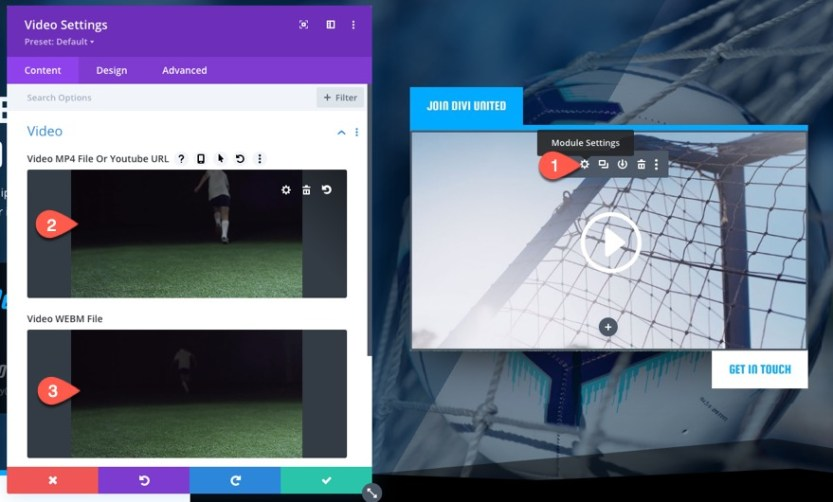 show buttons when playing HTML video in Divi