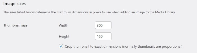 A rectangular setting for thumbnails in the WordPress Media Settings.