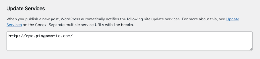 The update services settings in WordPress.
