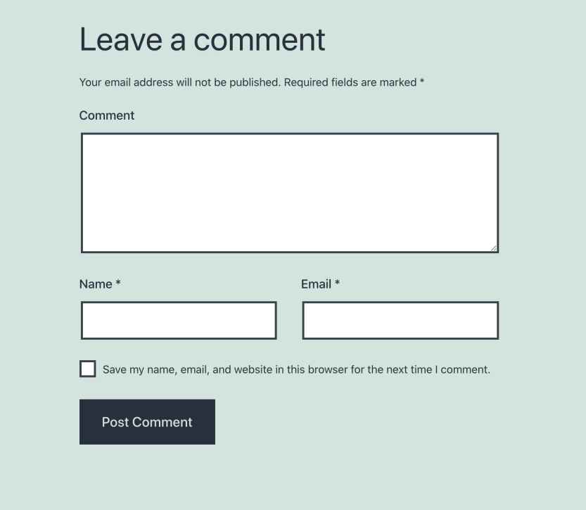 The comment submission form with the Website field removed.