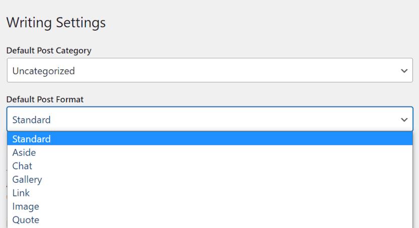 The WordPress post format options.