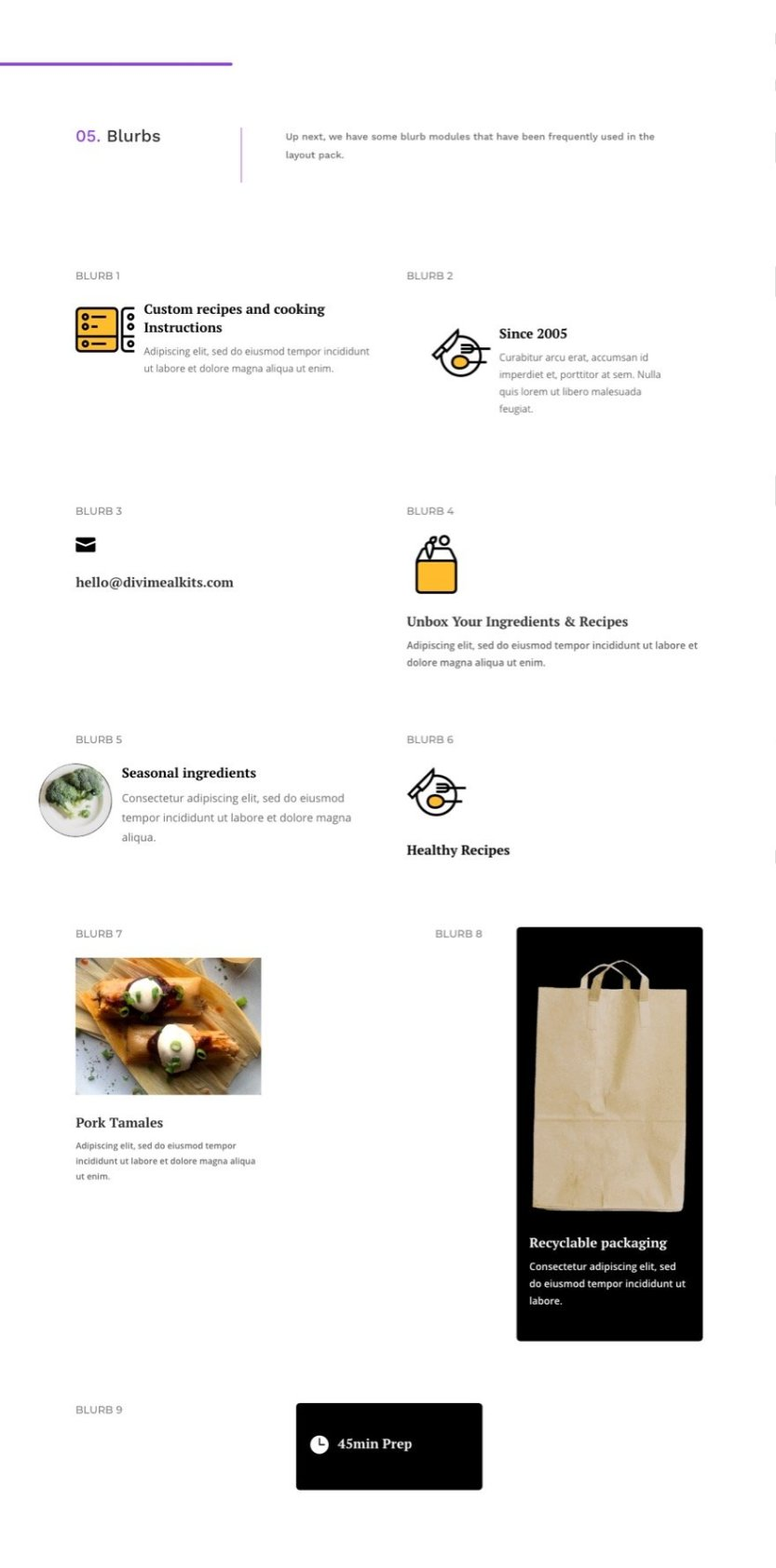 meal-kit global presets style guide