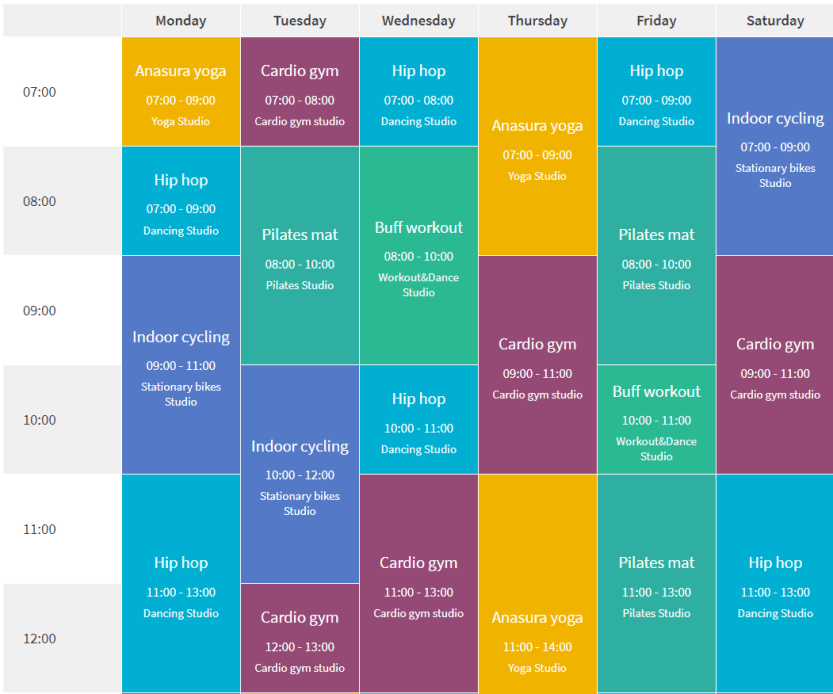 An example of a color-coded calendar