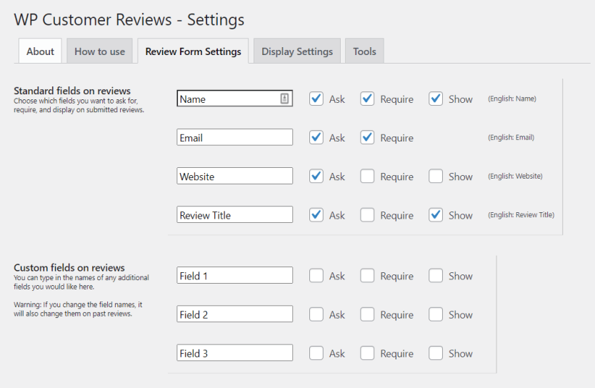 Creating a custom review form