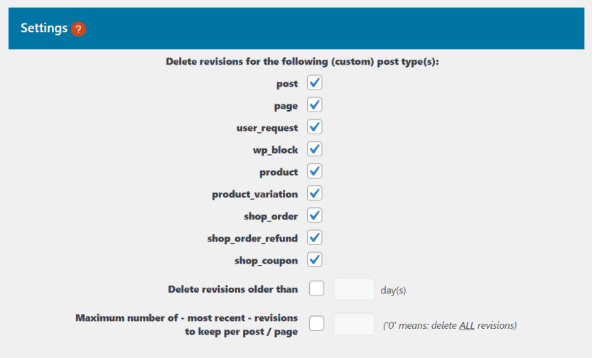Configuring which types of post revisions to delete