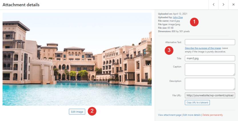 An Attachment Details window in WordPress