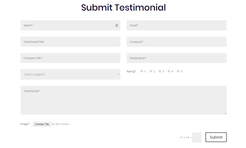 """A """"submit testimonial"""" form."""