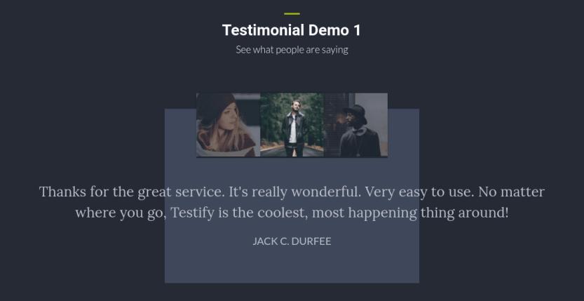 A demo of the Testify Testimonial Carousel Divi extension.