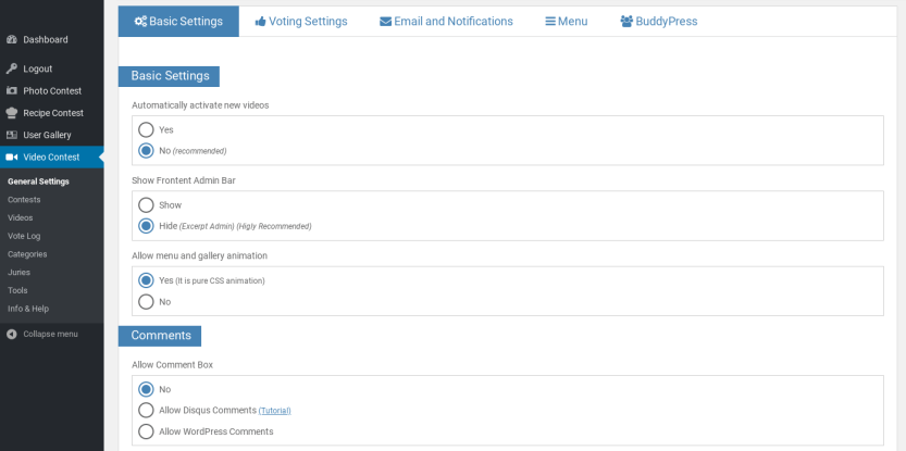 The Video Contest WordPress Plugin settings page.