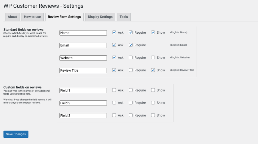 The form settings page of the WP Customer Reviews plugin.