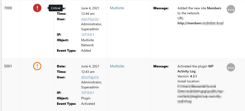 An example of a WordPress activity log