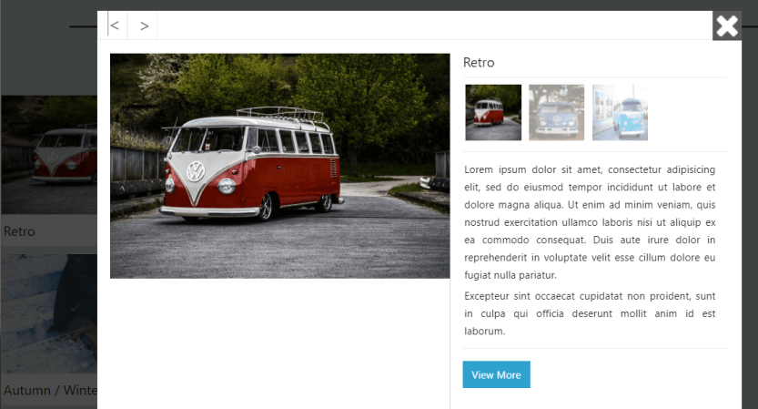 An example of a portfolio gallery popup