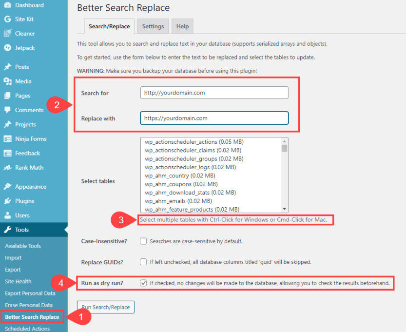 search and replace to fix mixed content error