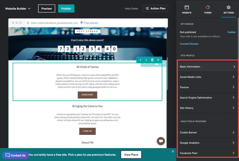 wordpress vs godaddy website builder basic options