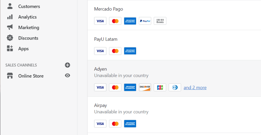 Configuring Shopify payments