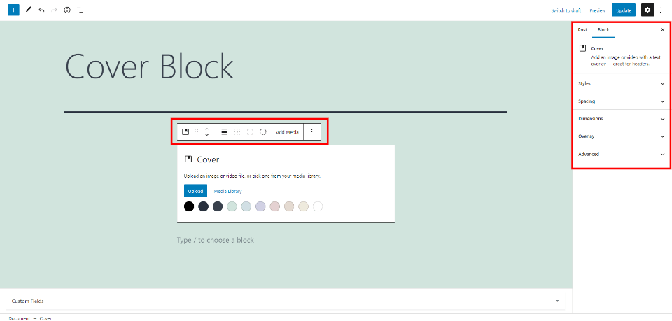 Cover Block Settings and Options