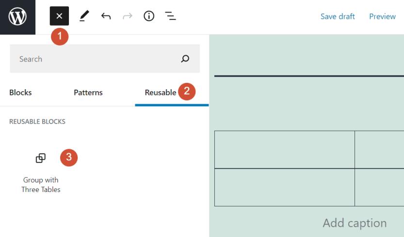 Adding a reusable block in WordPress