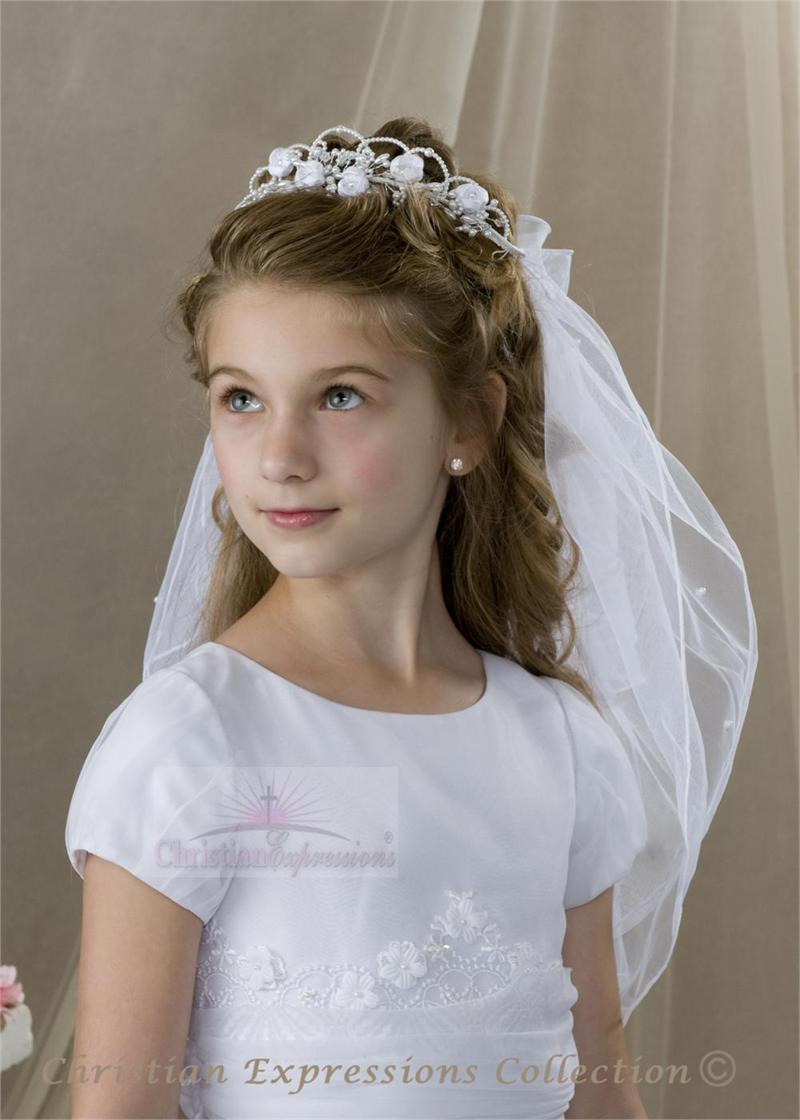 First Communion Wreath Veil with Flowers  First Communion