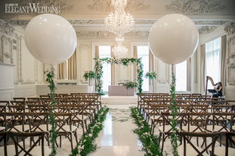 Whimsical Greenery Wedding With Balloons ElegantWeddingca