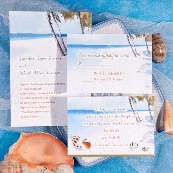 Seal And Send Beach Wedding Invitations
