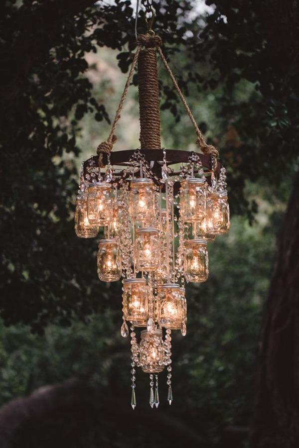 Country Rustic Diy Mason Jars Inspired Wedding Chandelier Decoration Ideas