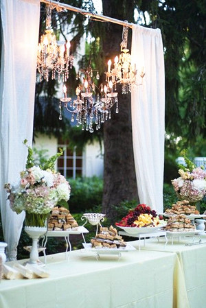 Fairytale Themed Glamorous Wedding Reception Ideas With Chandeliers Outdoor Food Buffet Hanging