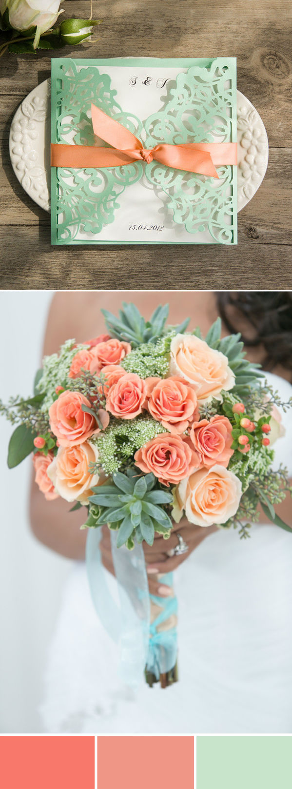 Mint Rustic Wedding Invitations