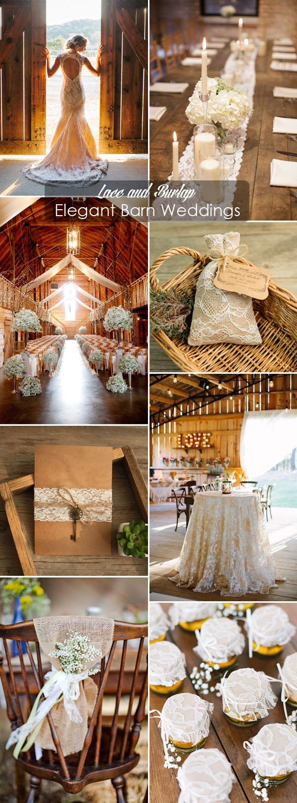 elegant lace rustic barn wedding ideas