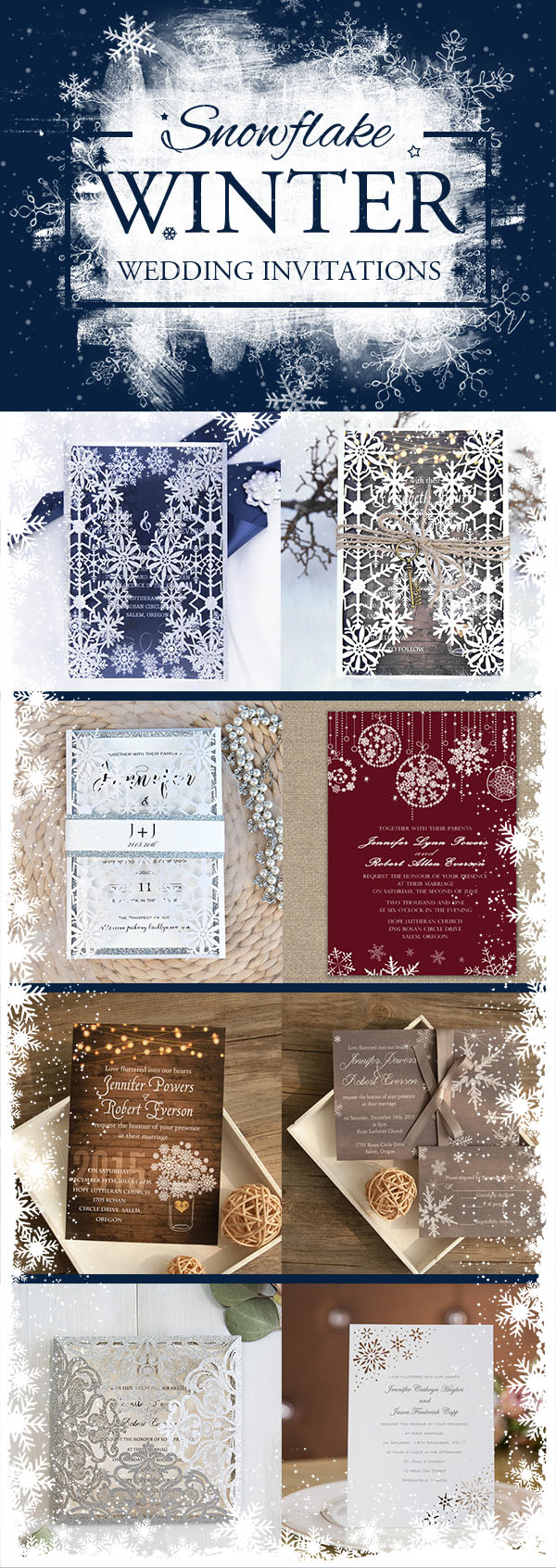 Snowflake Wedding Invitations Ideas For Winter