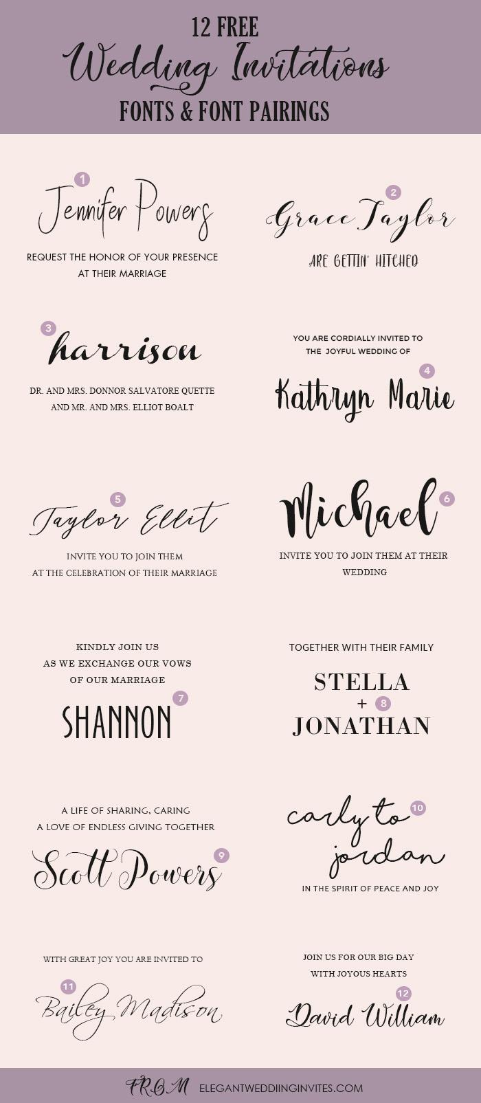 wedding invitation font pairing