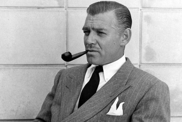 Clark Gable, 1946; grey flannel chalkstripe double-breasted suit, white button-down shirt
