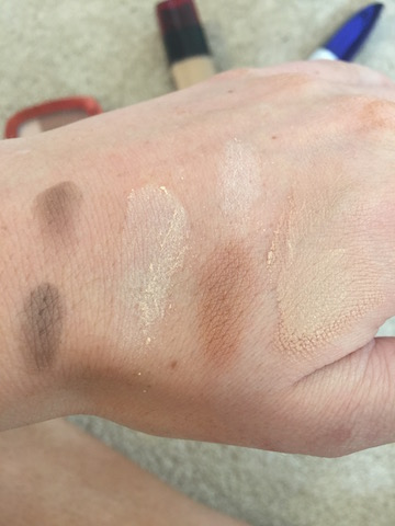 LOREAL TRUE MATCH POWDER SWATCH INFALLIBLE SWATCH GLAM BRONZE SWATCH BROW GENIUS SWATCH