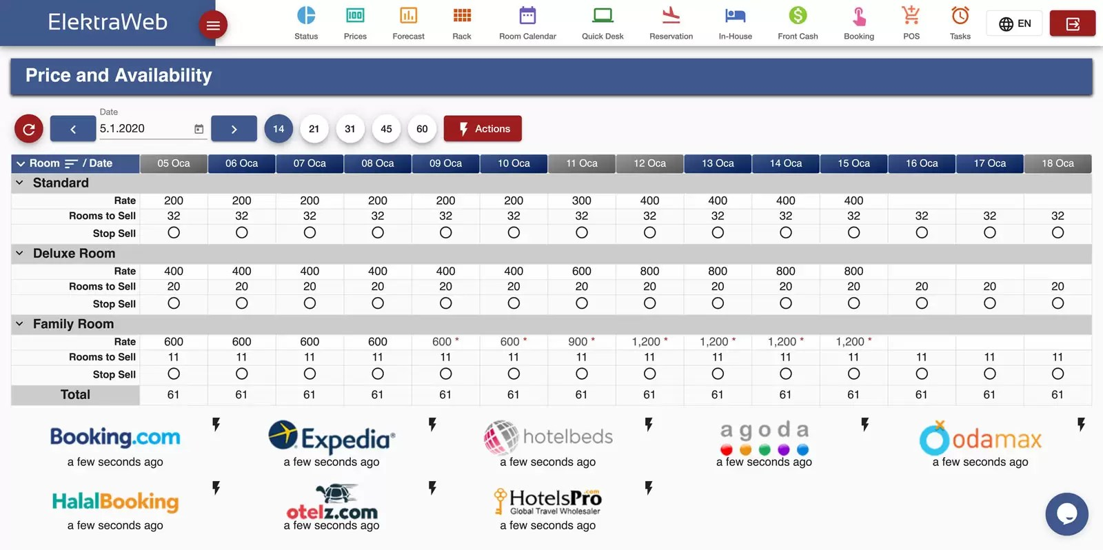 Hotel Program Rate Manager-Elektraweb Hotel Management System & Hotel Software
