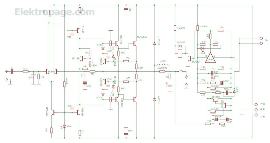 100w Power Audio Amplifier Circuit Diagram (AZK51