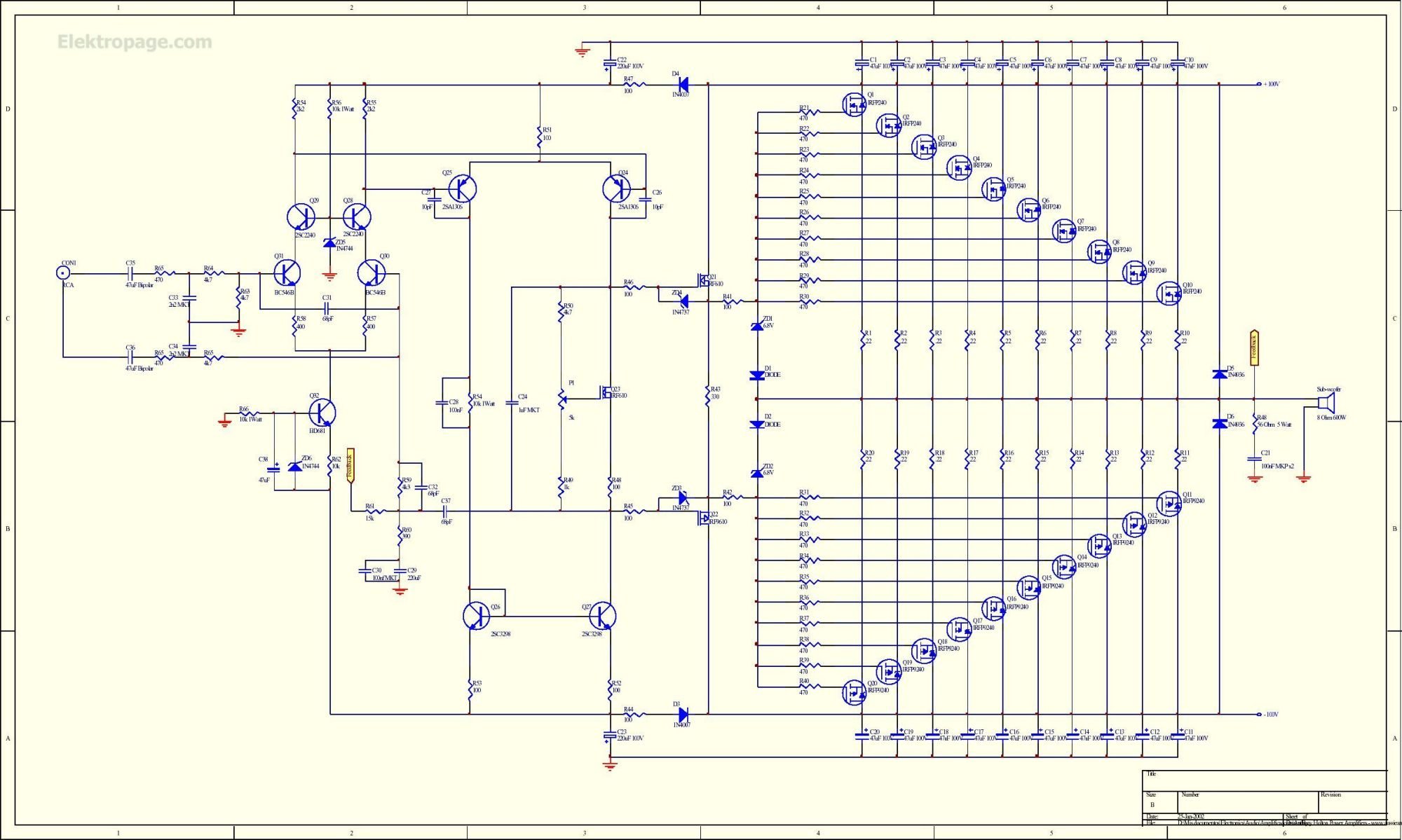 hight resolution of 1kw rms mosfet amplifier