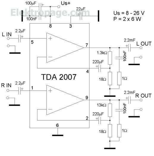 TDA 2040 25 watt amplifier schematic Circuit: TDA2040 25