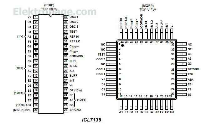 ICL7136 3 1/2 Digit LCD, Low Power Display, A/D Converter