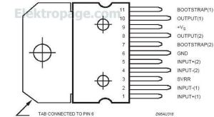 TDA2005 pinout connection diagram  Integrated Circuits Elektropage