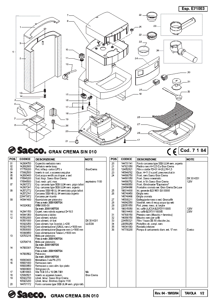 SAECO GRAN-CREMA-SIN-010 Service Manual download