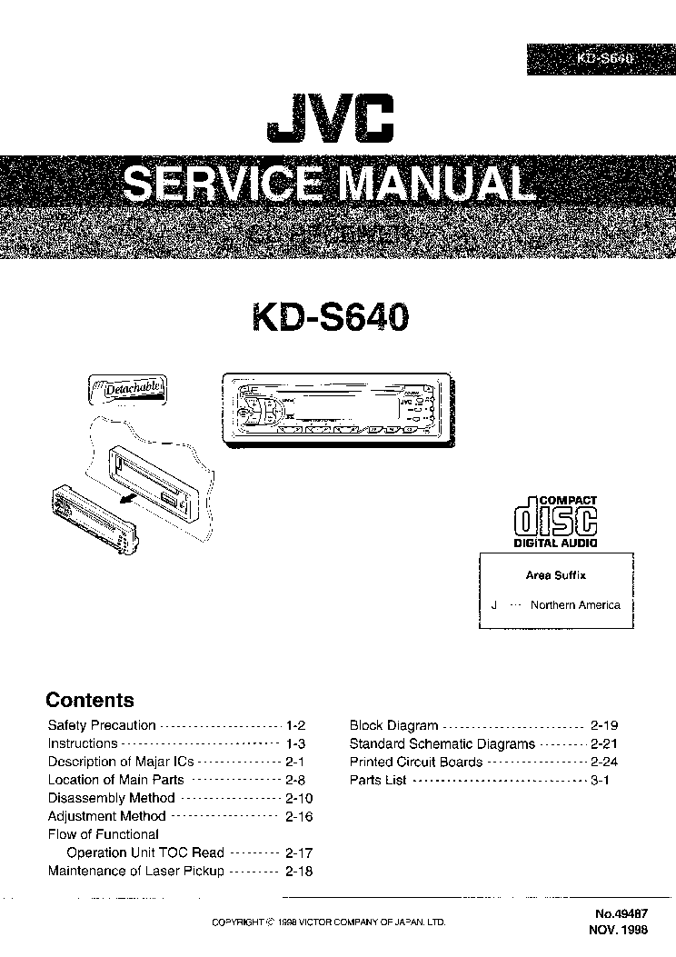 JVC KD-S640 Service Manual download, schematics, eeprom