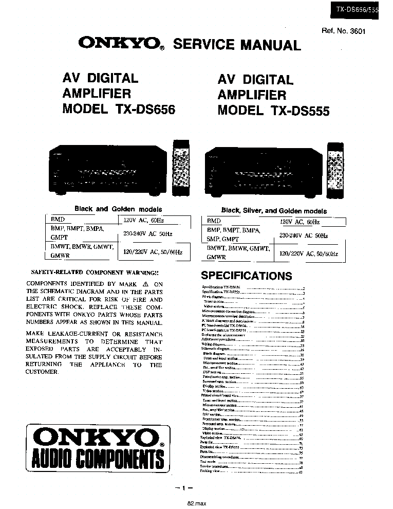 ONKYO TX-DS555 656 Service Manual download, schematics