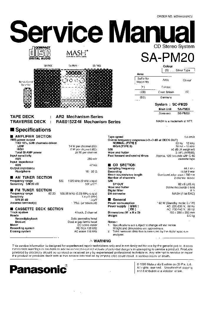 PANASONIC SA-PM20 SM Service Manual download, schematics