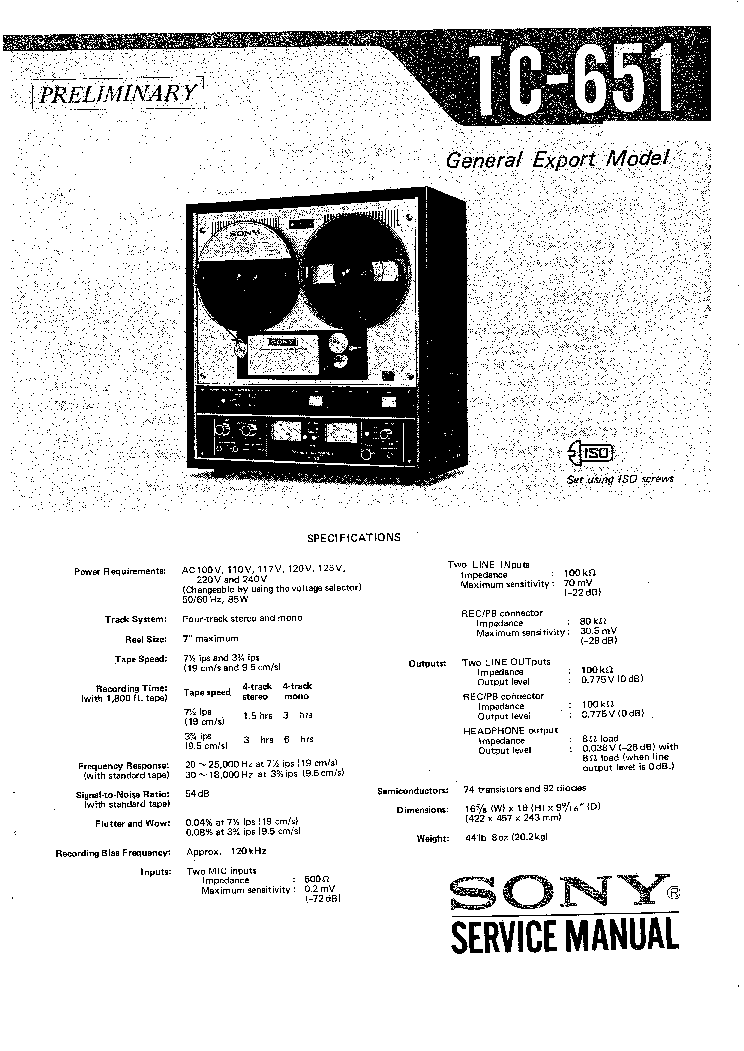 SONY TC-651 Service Manual download, schematics, eeprom