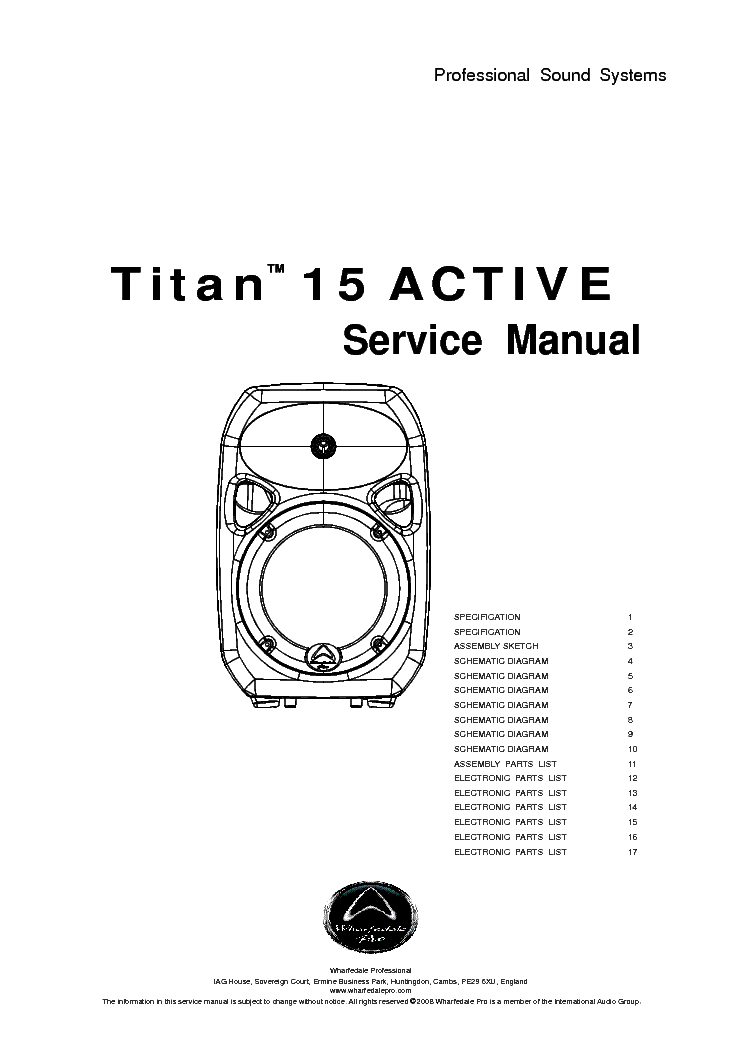 WHARFEDALE TITAN 15 ACTIVE Service Manual download
